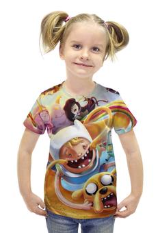 """Футболка с полной запечаткой для девочек """"Время приключений / Adventure Time"""" - сериалы, рисунок, мультфильмы"""