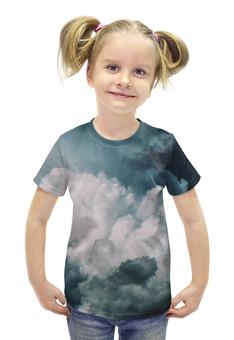 """Футболка с полной запечаткой для девочек """"Облака"""" - облака, воздух, cloud, air, погода"""