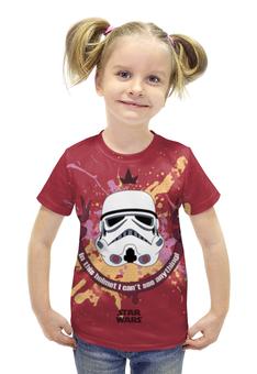 """Футболка с полной запечаткой для девочек """"Star Wars"""" - йода, дарт вейдер, боба фетт, лея органа, имперские штурмовики"""