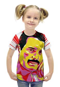 "Футболка с полной запечаткой для девочек ""Фреди Меркури"" - поп арт, рисунок, фреди меркури"