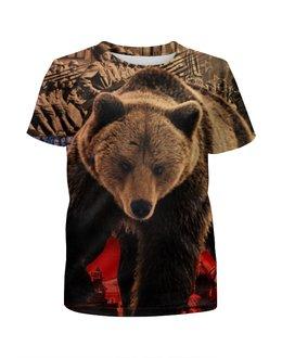 """Футболка с полной запечаткой для девочек """"Медведь Россия"""" - bear, медведь, мишка, россия, russia"""