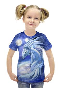 """Футболка с полной запечаткой для девочек """"Сны Архинджара"""" - арт, авторские майки, лошадь, голубой, животное"""