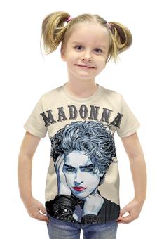 """Футболка с полной запечаткой для девочек """"Madonna"""" - madonna, мадонна, поп музыка, pop music, арт дизайн"""