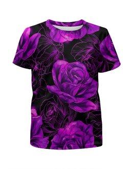 """Футболка с полной запечаткой для девочек """"Розы в цвету"""" - цветы, фиолетовый, весна, цветочки, розы"""