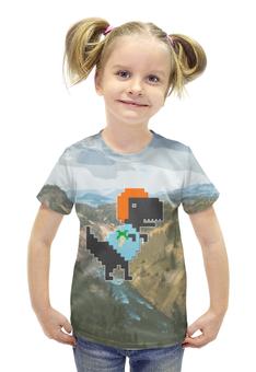 """Футболка с полной запечаткой для девочек """"Динозавр"""" - дизайн, динозавр, пиксели"""