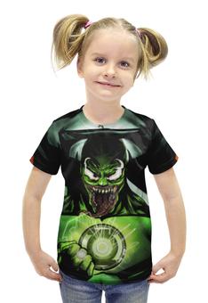 """Футболка с полной запечаткой для девочек """"Веном / Venom / Зеленый фанарь"""" - рисунок, зеленый фонарь, веном"""