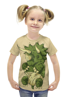 """Футболка с полной запечаткой для девочек """"DINO Baby / Малыш Динозавр"""" - дети, семья, динозавр, ребенок"""