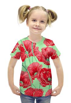 """Футболка с полной запечаткой для девочек """"Красные маки"""" - красиво, цветы, ярко, маки"""