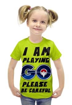 """Футболка с полной запечаткой для девочек """"Pokebol Go"""" - покебол"""