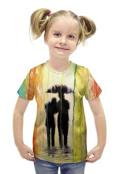 """Футболка с полной запечаткой для девочек """"Абстракция"""" - рисунок, дождь, краски, абстракция, арт дизайн"""