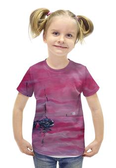 """Футболка с полной запечаткой для девочек """"розовый закат"""" - розовый, релакс, лодки, морская тема, подарочек"""