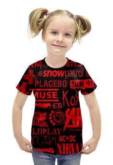 """Футболка с полной запечаткой для девочек """"Rock Band (Рок группы)"""" - nirvana, muse, placebo, sum 41, korn"""