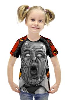 """Футболка с полной запечаткой для девочек """"Зомби хеллоуина"""" - хэллоуин, зомби, ужас, монстр"""