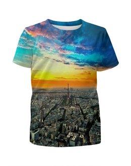 """Футболка с полной запечаткой для девочек """"New York"""" - new york, страны, города, небо, закат"""