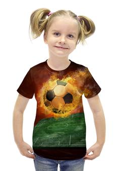 """Футболка с полной запечаткой для девочек """"Футбол"""" - огонь, мяч"""