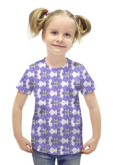 """Футболка с полной запечаткой для девочек """"Фиалки"""" - цветы, фиолетовый, акварель, паттерн, фиалка"""