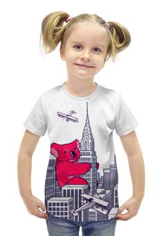 """Футболка с полной запечаткой для девочек """"Коала"""" - red, иллюстрация, коала, кинг-конг"""