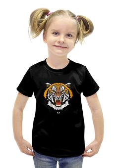 """Футболка с полной запечаткой для девочек """"Охрана-Тигр"""" - охранник, тигр, охрана"""