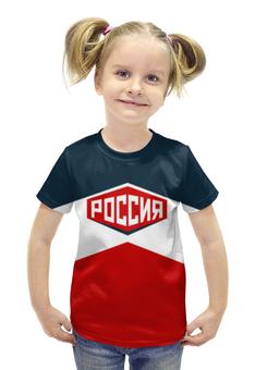 """Футболка с полной запечаткой для девочек """"Россия"""" - сборная россии, олимпиада рио, рио2016, олимпийская форма"""