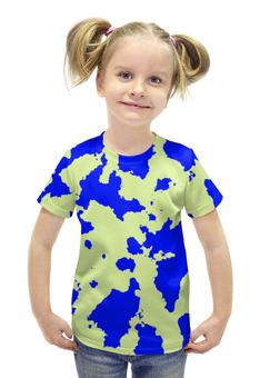 """Футболка с полной запечаткой для девочек """"Сине-Зелёный Камуфляж"""" - армия, камуфляж, camouflage, военный, сине зелёный камуфляж"""