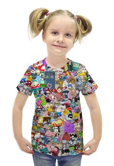 """Футболка с полной запечаткой для девочек """"STICKERS"""" - арт, юмор, дизайн, мульт, фэн-арт"""