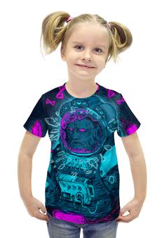 """Футболка с полной запечаткой для девочек """"Космонавт"""" - арт, космос, авторский, иллюстрация, космонавт"""