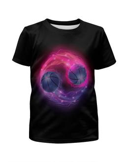 """Футболка с полной запечаткой для девочек """"Пламенные мячи"""" - футбол, спорт, мячи, огонь, игры"""