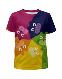 """Футболка с полной запечаткой для девочек """"Happy cats"""" - радуга, цвета, кошки, коты, калейдоскоп"""