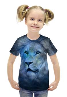 """Футболка с полной запечаткой для девочек """"Лев зодиак"""" - лев кошки животные знак зодиак"""