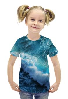 """Футболка с полной запечаткой для девочек """"Волны"""" - вода, волны, океан, waves"""
