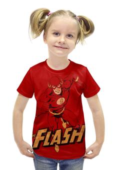 """Футболка с полной запечаткой для девочек """"Флэш """" - flash, комиксы, супергерои, флэш"""