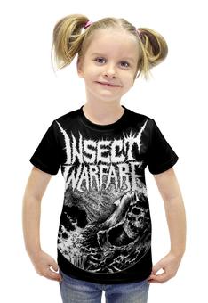 """Футболка с полной запечаткой для девочек """"Insect Warfare Band"""" - skull, череп, metal, тяжёлая музыка, insect warfare"""