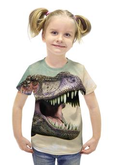 """Футболка с полной запечаткой для девочек """"Тиранозавр """" - арт, динозавр, тиранозавр"""