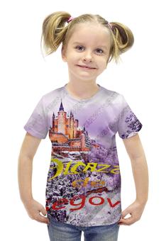 """Футболка с полной запечаткой для девочек """"Испанский замок Сеговия"""" - фиолетовый, испания, замок, полоски, крепость"""