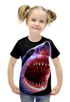 "Футболка с полной запечаткой для девочек ""Атака"" - абстракция, рыба, акула, shark"