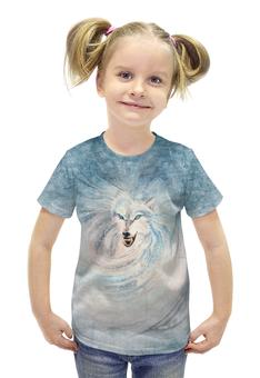"""Футболка с полной запечаткой для девочек """"Волк-зима"""" - авторские майки, зима, животное, волк, оборотень"""