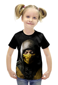 """Футболка с полной запечаткой для девочек """"Mortal kombat scorpion"""" - скорпион, mortal kombat, mk, мортал комбат"""