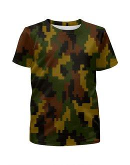 """Футболка с полной запечаткой для девочек """"Pixel"""" - 23 февраля, армия, камуфляж, пиксели, силовые структуры"""