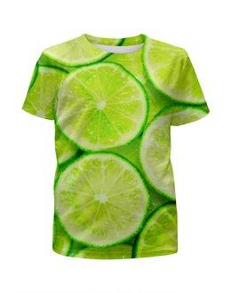 "Футболка с полной запечаткой для девочек ""Цитрус"" - фрукт, лайм, лимон, мята, мохито"