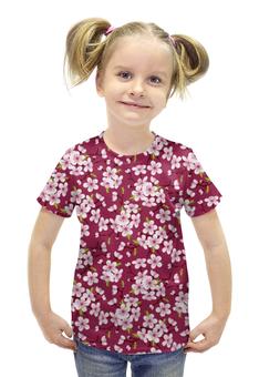 """Футболка с полной запечаткой для девочек """"Цветущая вишня"""" - красиво, цветы, природа, цветочки, цветущая вишня"""