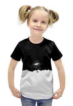 """Футболка с полной запечаткой для девочек """"SPACE"""" - космос, абстракция, чб"""