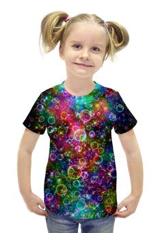 """Футболка с полной запечаткой для девочек """"Психоделика"""" - психоделика, пузырьки, цвет, абстракция"""