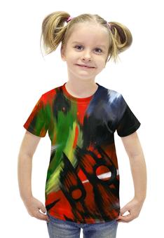 """Футболка с полной запечаткой для девочек """"Красная абстракция с ножницами"""" - черный, красный, зеленый, ножницы, абстрактный"""