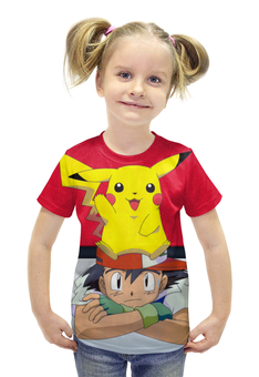 """Футболка с полной запечаткой для девочек """"Ash & Pikachu"""" - нинтендо, пикачу, эш, pikachu, покемон го"""