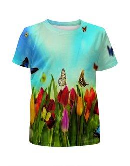 """Футболка с полной запечаткой для девочек """"Весна"""" - цветы, весна, цветочки, лето, бабочки"""