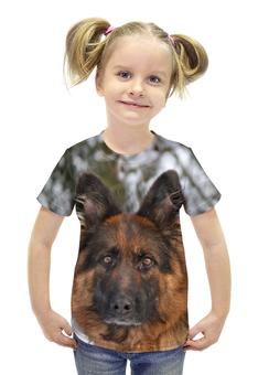 "Футболка с полной запечаткой для девочек ""Зимний пес"" - зима, собака, овчарка, овчар-команда, лохмач"