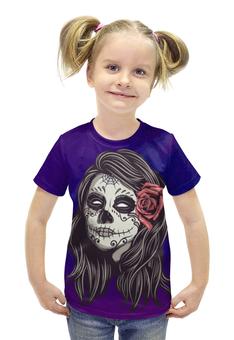 """Футболка с полной запечаткой для девочек """"Череп хеллоуина"""" - череп, хэллоуин, зомби, ужас, монстр"""
