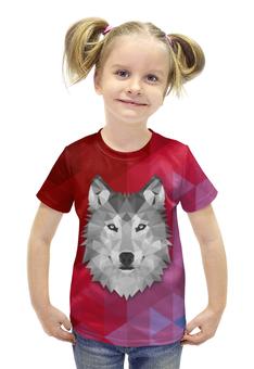 """Футболка с полной запечаткой для девочек """"Полигональный Волк"""" - арт, красный, волк, полигоны"""