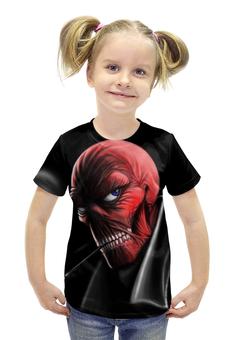 """Футболка с полной запечаткой для девочек """"Красный Череп"""" - марвел, красный череп, red skull"""
