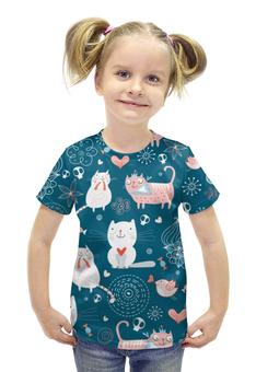 """Футболка с полной запечаткой для девочек """"Прикольные Коты"""" - кот, кошка, котенок, cat"""